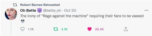irony of rage against the machine requiring covid vax